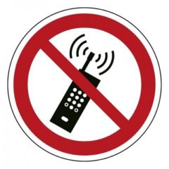 Telefoon verboden, sticker, ISO 7010, BHV, VCA, verbod