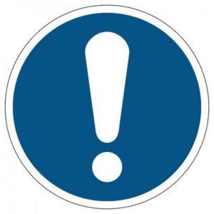 algemeen gebod, sticker, ISO 7010, ARBO, VCA, gebod