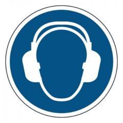 gehoorbescherming verplicht, sticker, ISO 7010, ARBO, VCA, gebod