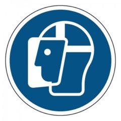 gelaatsbescherming verplicht, sticker, ISO 7010, ARBO, VCA, gebod