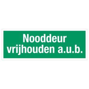 nooddeur vrijhouden a.u.b., sticker, tekst, BHV, EHBO, VCA, BB2012