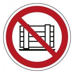 goederen opslaan of neerzetten verboden, sticker, ISO 7010, BHV, VCA, verbod