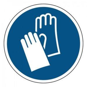 veiligheidshandschoenen verplicht, sticker, ISO 7010, ARBO, VCA, gebod