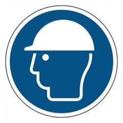veiligheidshelm verplicht, sticker, ISO 7010, ARBO, VCA, gebod