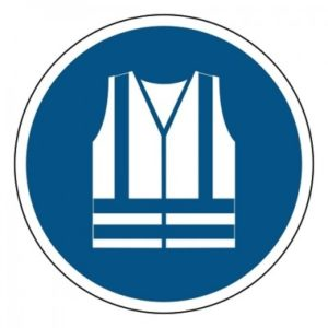 veiligheidsvest verplicht, sticker, ISO 7010, ARBO, VCA, gebod