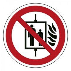 verboden bij brand lift te gebruiken, sticker, ISO 7010, BHV, EHBO, VCA, verbod