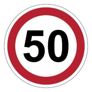 50 km, verkeer, auto, verbod, sticker