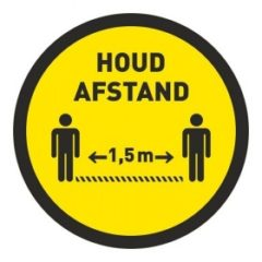 1,5 meter afstand houden – (VLOER) STICKER antislip – rond