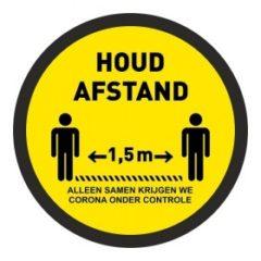 1,5 meter afstand houden – (VLOER) STICKER antislip – rond – samen