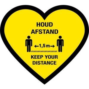 houd afstand hart vloersticker