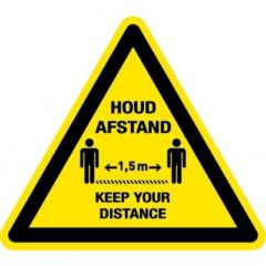 afstand houden – keep your distance 1,5 m (VLOER) STICKER antislip – driehoek
