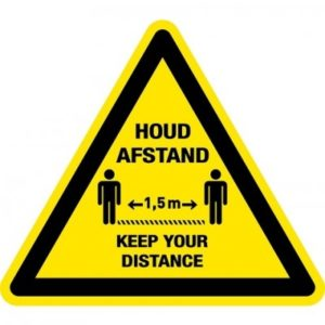 houd afstand - keep your distance driehoek