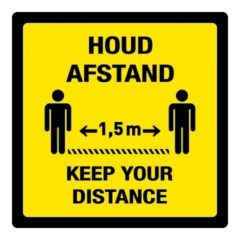 afstand houden – keep your distance 1,5 m (VLOER) STICKER antislip – vierkant