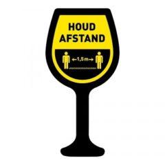 houd afstand wijnglas vloersticker