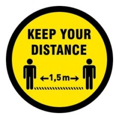 keep your distance 1,5 m (VLOER) STICKER antislip – rond