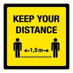 keep your distance 1,5 m (VLOER) STICKER antislip – vierkant