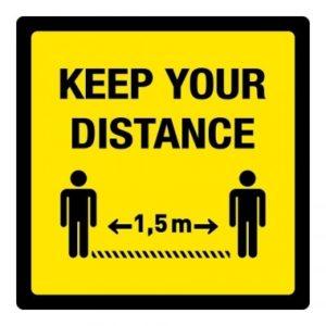 keep your distance 1,5 m (VLOER) STICKER antislip – vierkant